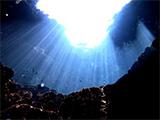 光が入り込む海の中