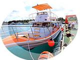 白とオレンジの綺麗なダイビングボート
