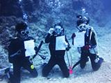 証明書を海中で見せるダイバー