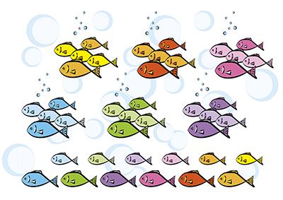 みんなで楽しそうに一緒に泳いでいる魚たち