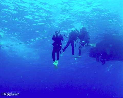 ボートからロープで下に入る体験ダイバー