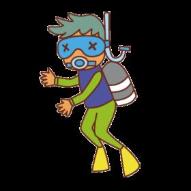 マスクが曇って見えないダイバー